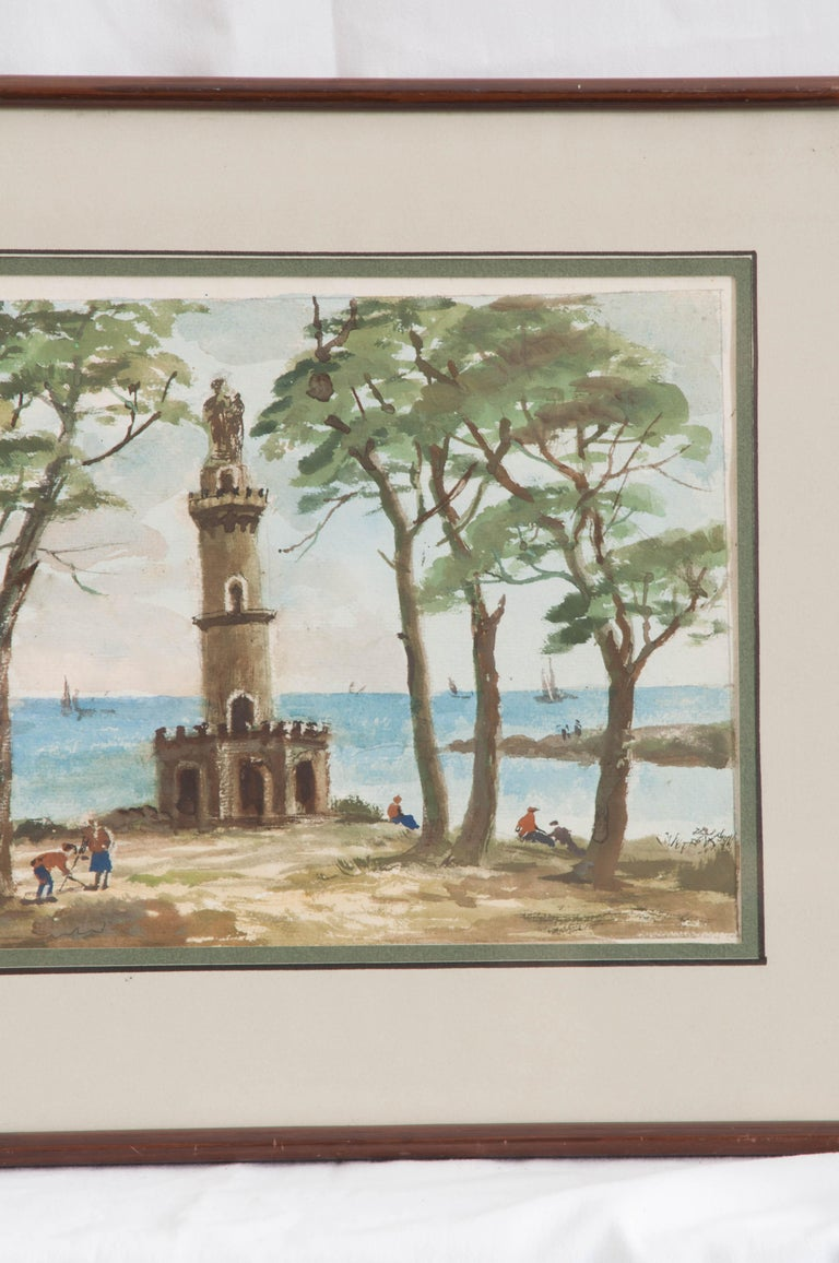 Neoclassical French Painting of a Seaside For Sale