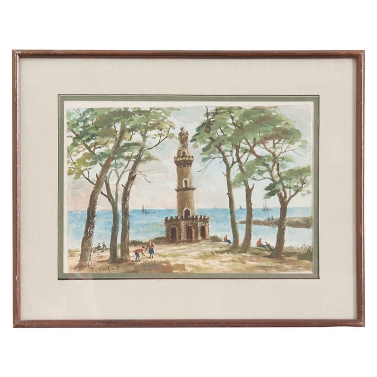 French Painting of a Seaside For Sale