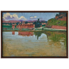 French Painting of a Village over a Reflective Lake