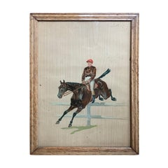 French Painting of Jumping Racehorse & Jockey, Signed, Poss. by Eugene Pechaubes