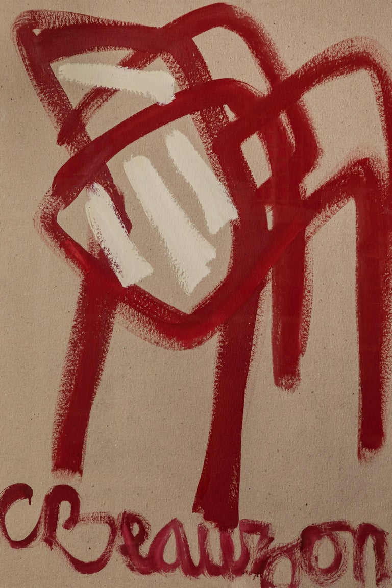 Modern French painting of red chair in black frame. Painting is titled