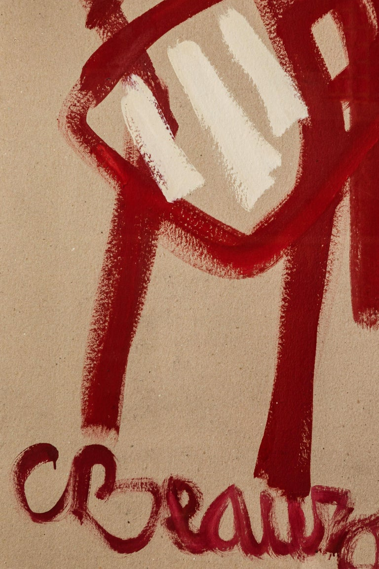 Contemporary French Painting of Red Chair Titled