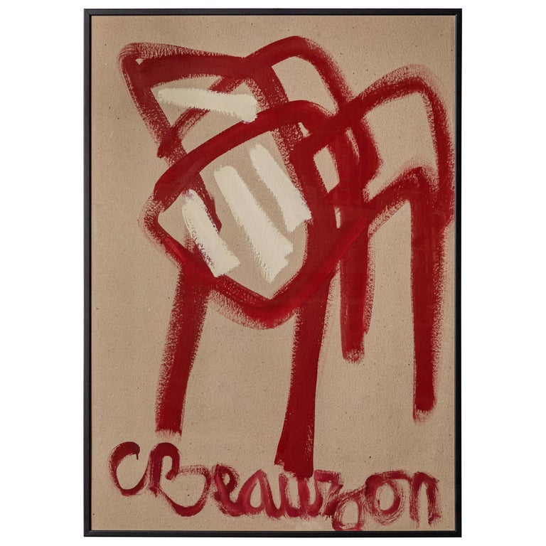 """French Painting of Red Chair Titled """"Beauzon"""" For Sale"""
