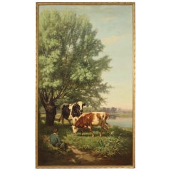 French Painting Signed 19th Century Bucolic Scene