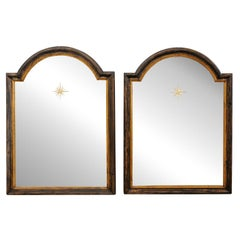 French Pair 19th C, Mirrors with Arched Crest & Sunburst Accents
