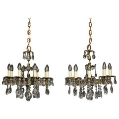 French Pair of Gilded Bronze and Crystal Antique Chandeliers
