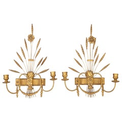 French Pair of Gilded Wall Sconces