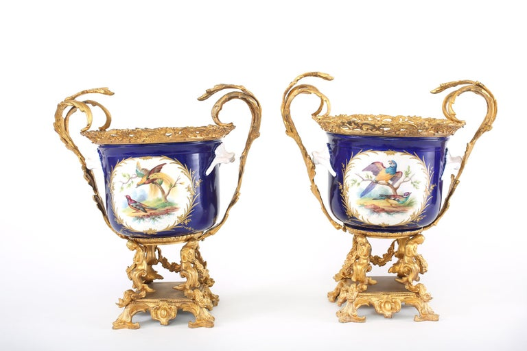 French Pair Gilt Bronze Mounted / Porcelain Pair Urns / Vases  For Sale 7