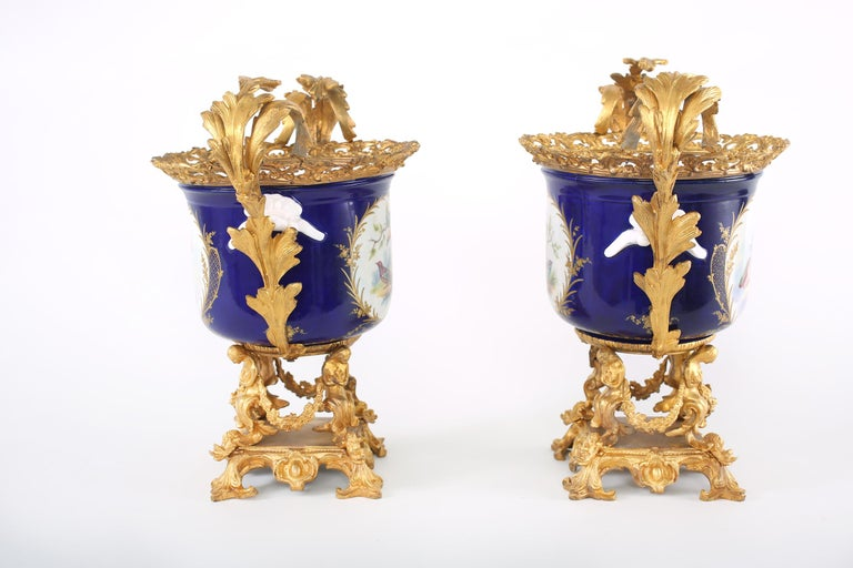Hand-Painted French Pair Gilt Bronze Mounted / Porcelain Pair Urns / Vases  For Sale