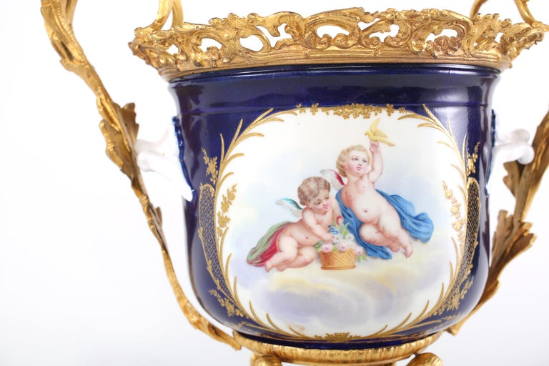 20th Century French Pair Gilt Bronze Mounted / Porcelain Pair Urns / Vases  For Sale