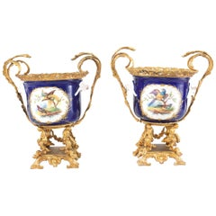 French Pair Gilt Bronze Mounted / Porcelain Pair Urns / Vases