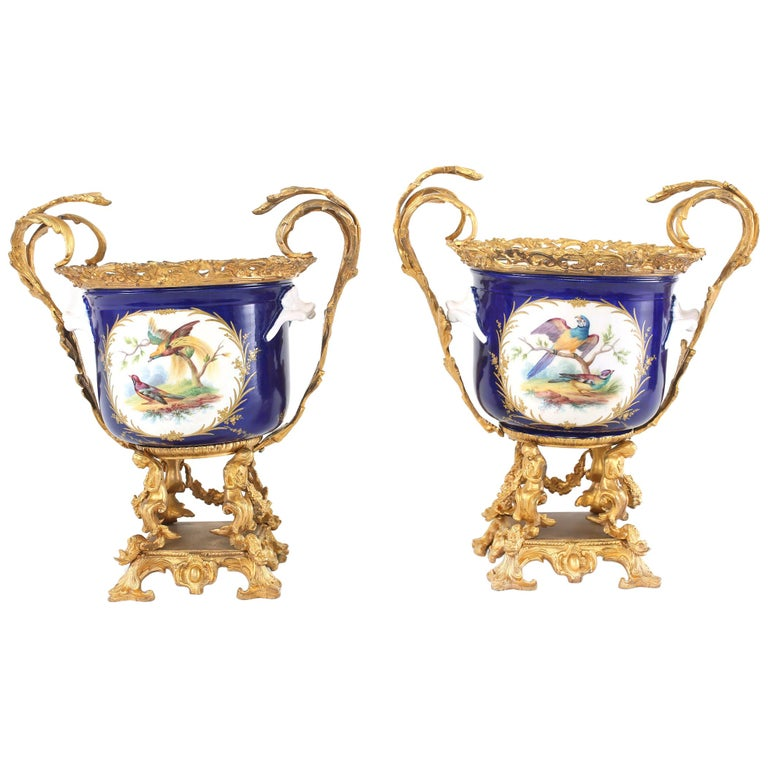 French Pair Gilt Bronze Mounted / Porcelain Pair Urns / Vases  For Sale