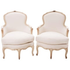 French Pair of 19th Century Louis XV Painted Bergères