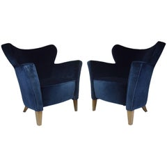 French Pair of 20th Century Velvet Armchairs, 1980s