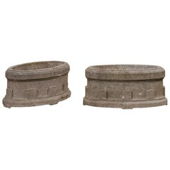 French Pair of Antique Carved-Stone Oval-Shaped Garden Planters