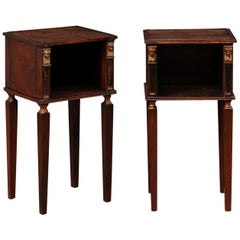 French Pair of Antique End Tables, Adorn with Egyptian Revival Accents