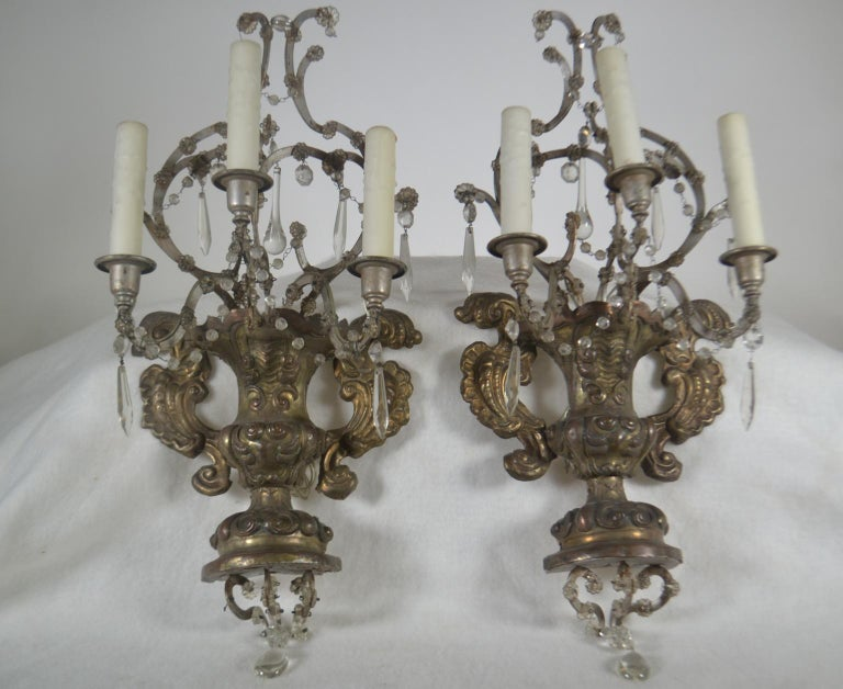 18th Century and Earlier French, Pair of Antique Reposse Three-Arm Wall Sconces For Sale