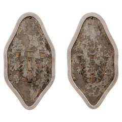 French Pair of Antiqued Mirrored Wall Plaques with Three-Light Candle Sconces