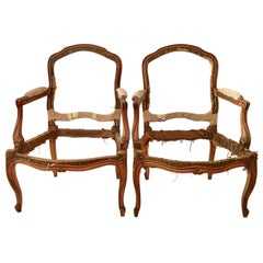 French Pair of Armchair Carcasses, Montespan Style, 19th Century