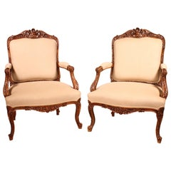 french pair of armchairs in walnut regence style 19 century