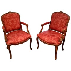 French Pair of Armchairs, Louis XVI Montespan Style, 19th Century, silk damask
