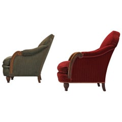 French Pair of Art Deco Lounge Chairs in Red and Green Velvet