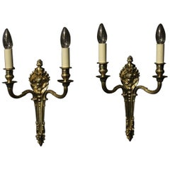 French Pair of Brass Twin Arm Antique Wall Lights
