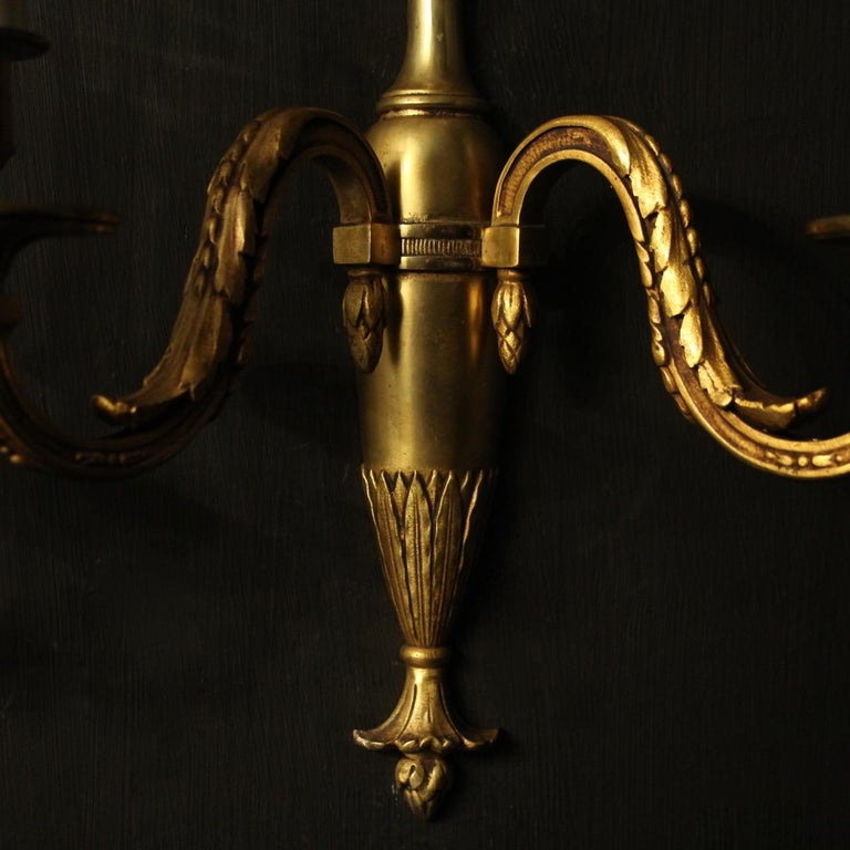 Gilt French Pair of Bronze Antique Wall Lights For Sale