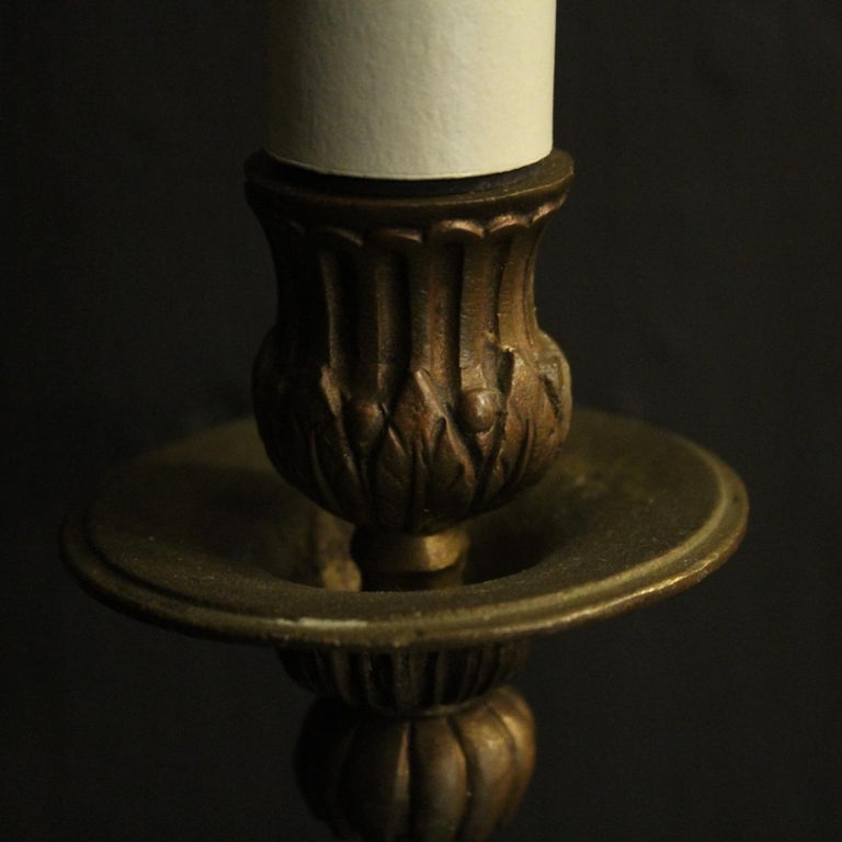 French Pair Of Bronze Antique Wall Lights For Sale 2