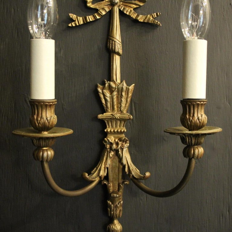 French Pair Of Bronze Antique Wall Lights For Sale 3