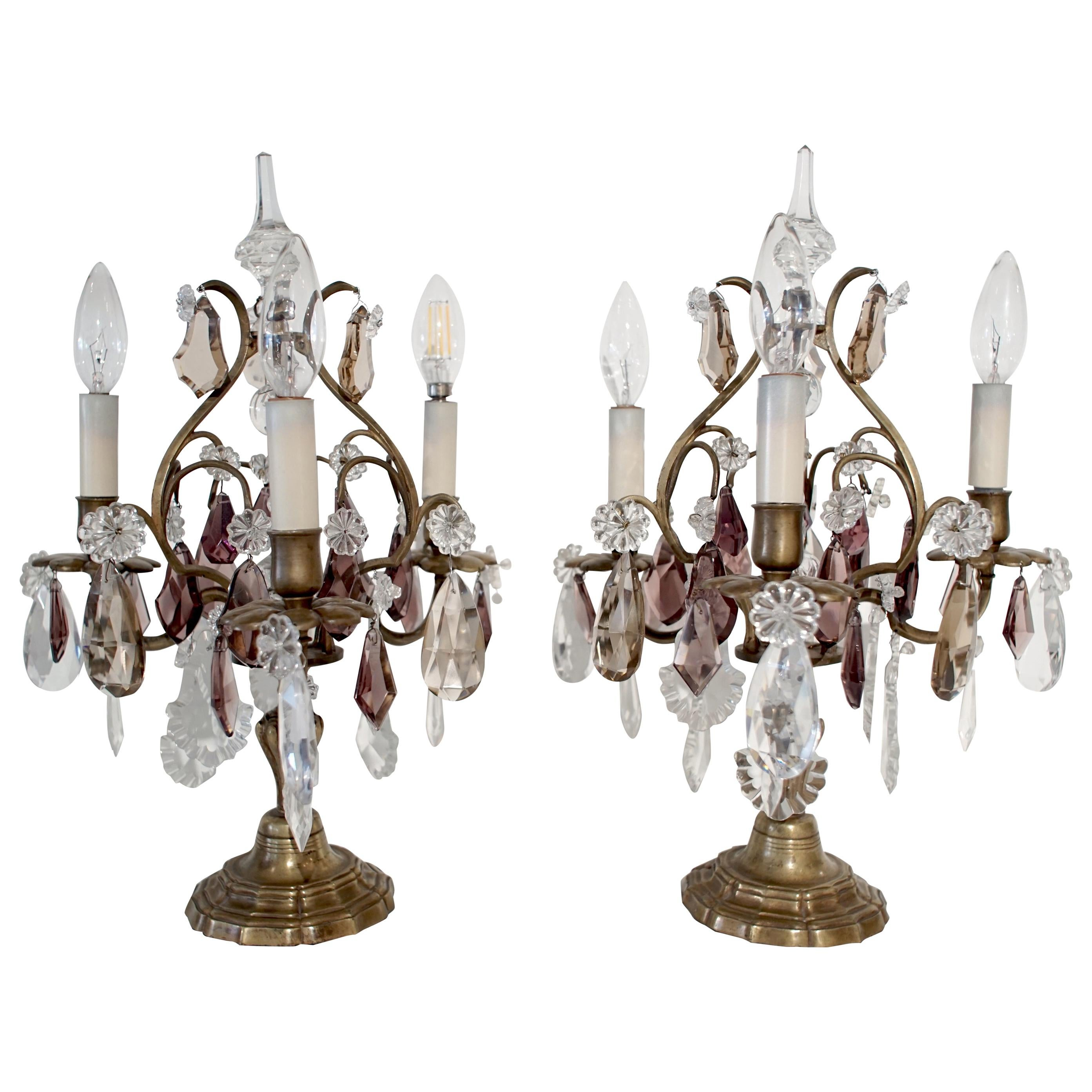 French Pair of Bronze Girandoles Candelabras with Clear and Amethyst Crystals