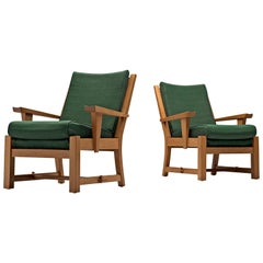 French Pair of Carved Solid Oak Chairs