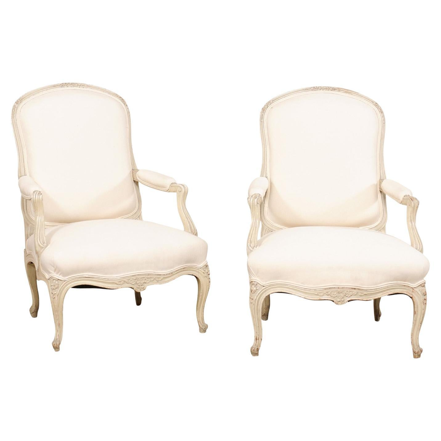 French Pair of Carved-Wood & Newly Upholstered Armchairs from the Early 20th C