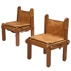 French Pair of Chairs in Cognac Leather