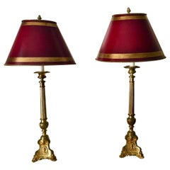 French Pair of Column Lamps with Burgundy Red Parchment Shades