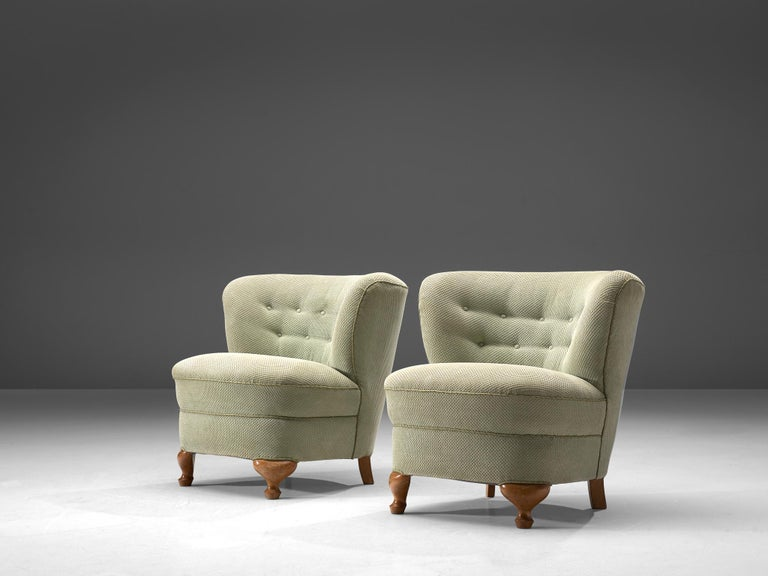Mid-Century Modern French Pair of Easy Chairs in Light Green Fabric For Sale