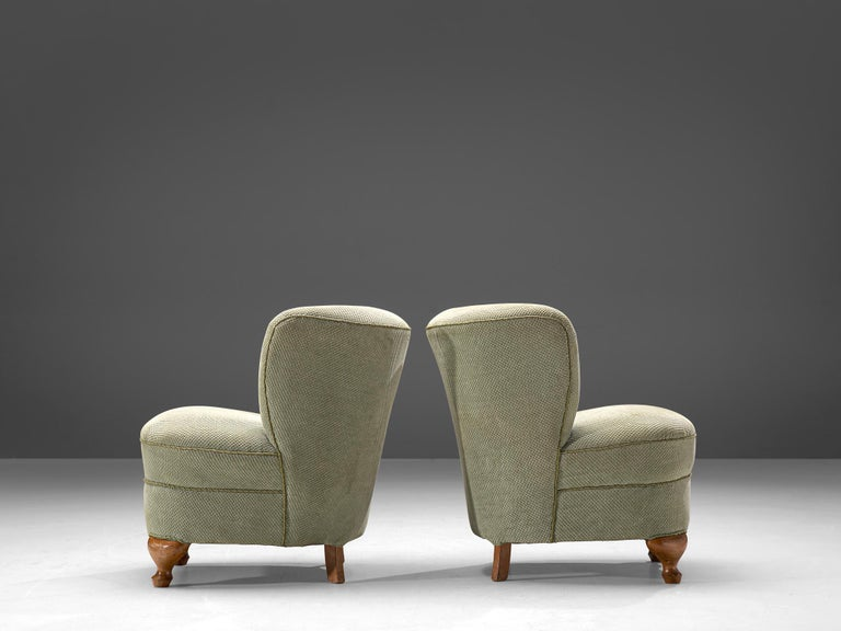 Mid-20th Century French Pair of Easy Chairs in Light Green Fabric For Sale