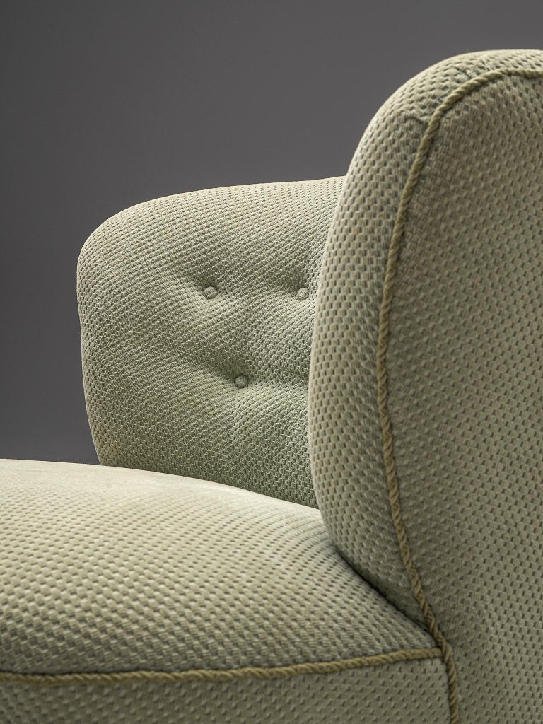 French Pair of Easy Chairs in Light Green Fabric For Sale 1