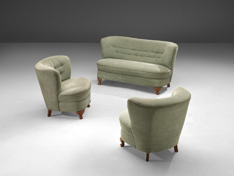 French Pair of Easy Chairs in Light Green Fabric For Sale 3