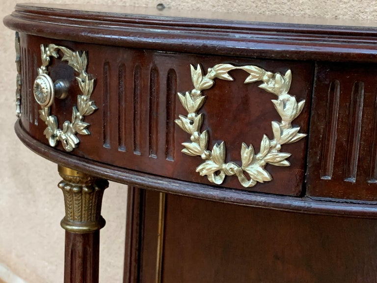 French Pair of Empire Style Demilune Nightstands with One Drawer & Bronze Mounts For Sale 6