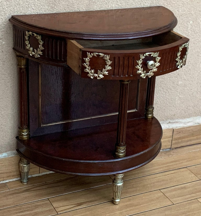 French Pair of Empire Style Demilune Nightstands with One Drawer & Bronze Mounts For Sale 1