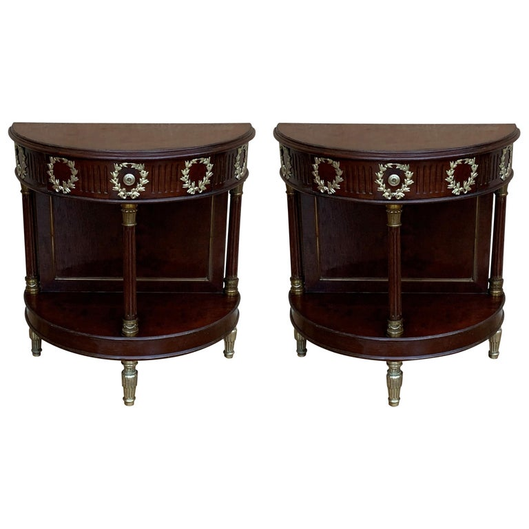 French Pair of Empire Style Demilune Nightstands with One Drawer & Bronze Mounts For Sale