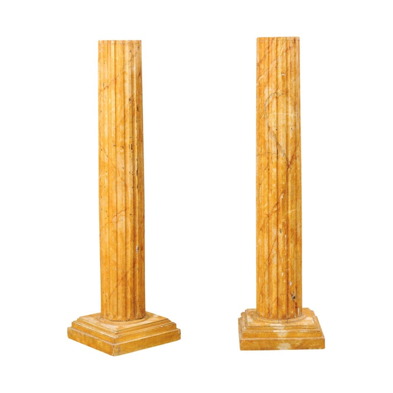 French Pair of Fluted Columns with Faux Marble Finish, Mid-20th Century For Sale