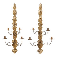 French Pair of Garland Carved & Gilt Wood Candle Wall Sconces, Mid 20th C.
