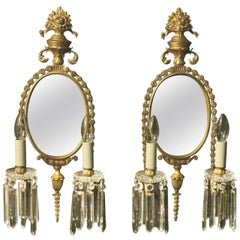 French Pair of Gilded Bronze Antique Girandoles