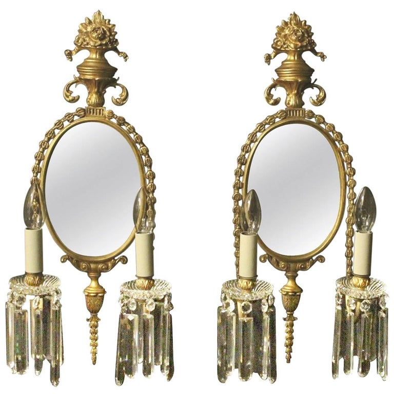French Pair of Gilded Bronze Antique Girandoles For Sale