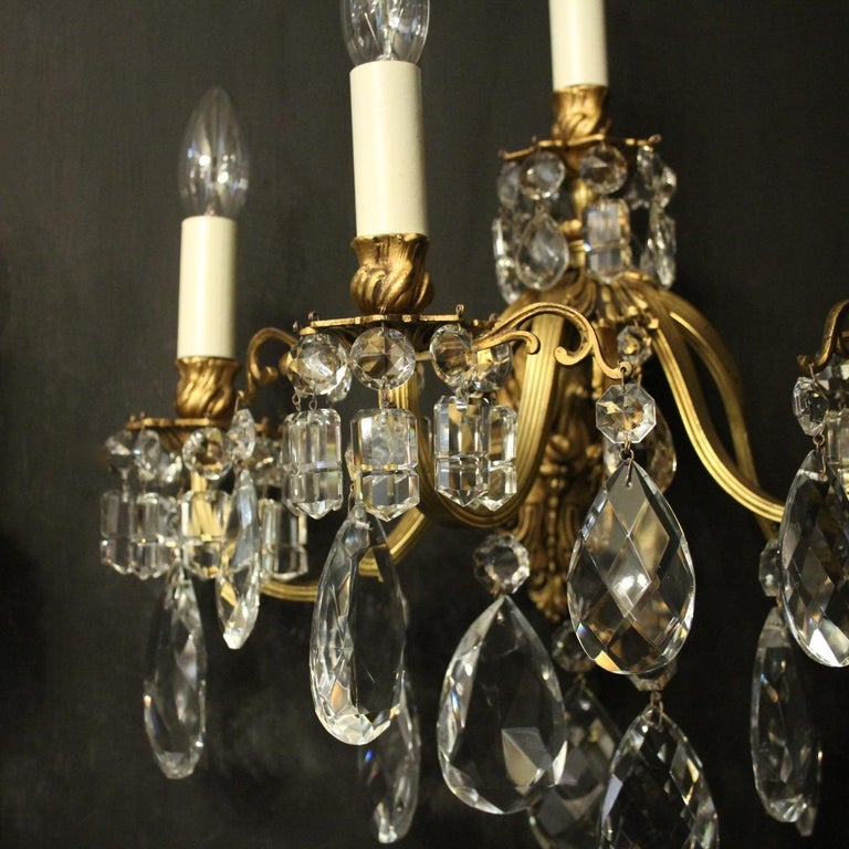Italian French Pair of Gilded Bronze Antique Wall Lights For Sale