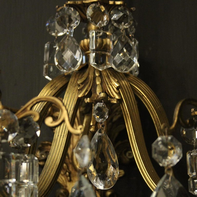 20th Century French Pair of Gilded Bronze Antique Wall Lights For Sale