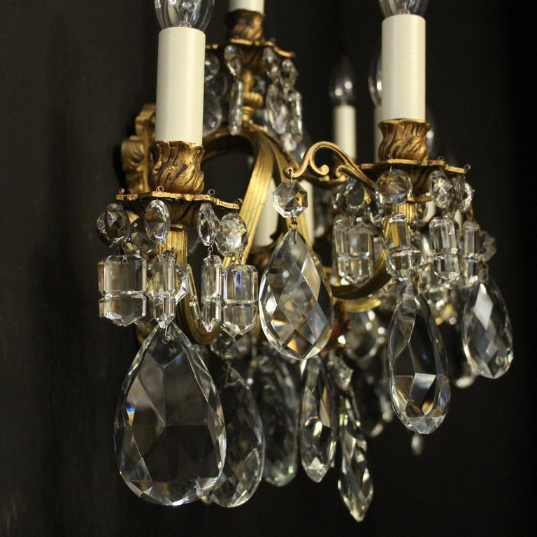 French Pair of Gilded Bronze Antique Wall Lights For Sale 3