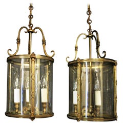French Pair of Gilded Triple Light Convex Antique Hall Lanterns
